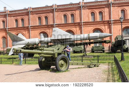 St. Petersburg Russia - 28 May, The boy is on the cannon gun., 28 May, 2017. Military History Museum of combat equipment in St. Petersburg.