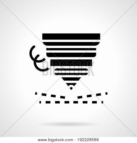 Abstract monochrome symbol of laser cutter with metal shaving. High precision cutting machine. Symbolic black glyph style vector icon.
