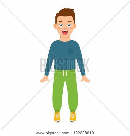 Scared boy in blue shirt isolated vector illustration on white background