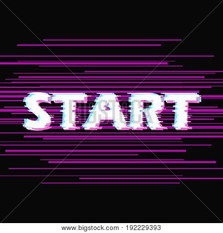 Sign start with distorted glitch effect. Trendy style lettering typeface. Word start in dark linear design noise. Digital image data distortion Vector illustration stock vector.