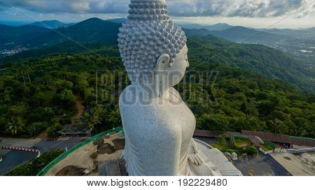 Aerial Photography White Great Phuket's Big Buddha In Blue Sky.