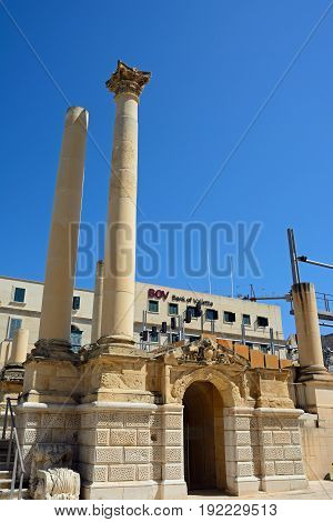 VALLETTA, MALTA - MARCH 30, 2017 - View of the open air theatre along Republic Street with the Bank of Valletta building to the rear Valletta Malta Europe, March 30, 2017.