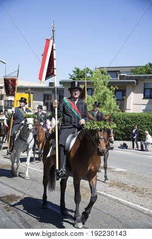 Weingarten, Germany - May 26, 2017: Roman Catholics from Weingarten and from most parts of Upper Swabia take part in the annual Blutritt, a huge equestrian procession.