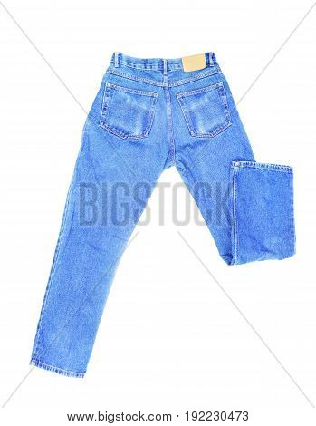 Blank blue jeans isolated on white background