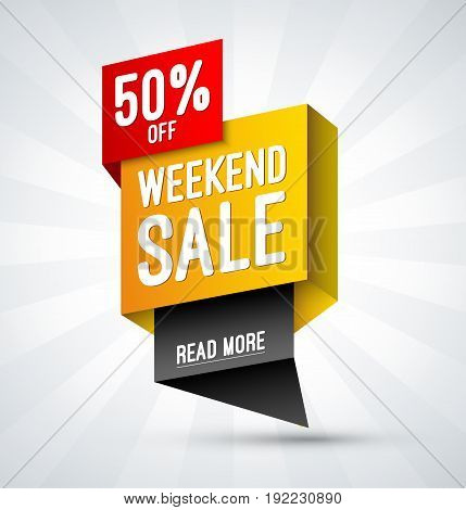 Weekend sale, special offer banner. Half price label. Discount template. Shopping vector background