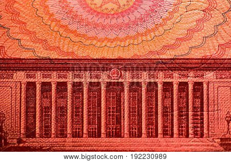 Macro of the reverse of a 100 RMB note showing the Great Hall of the People in Beijing