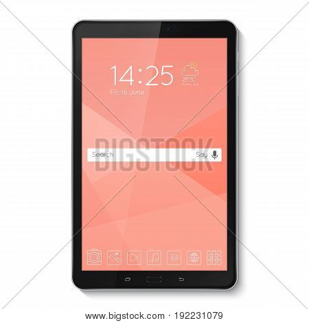 Popular top model of modern tablet. Technological template with blue display. Vector illustration