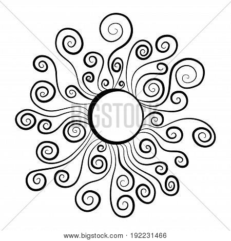 Sun emblem vector black and white illustration. Day-star with spiral sunbeams, curled rays. Vector cartoon clip art for spring or summer design to depict solar activity, magnetic storm, sunny weather