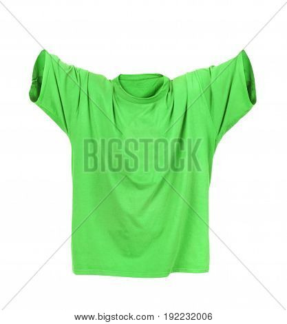 Hollow green T-shirt on a white background