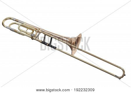 classic brass musical instrument trombone isolated on white background