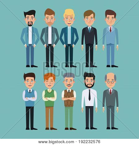 color background full body set of multiple men characters for business vector illustration