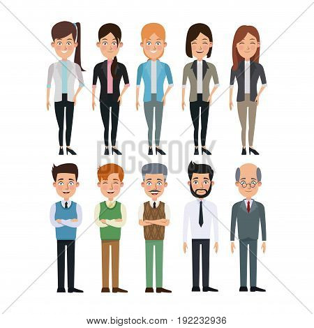 white background full body set collection women and men characters for business vector illustration