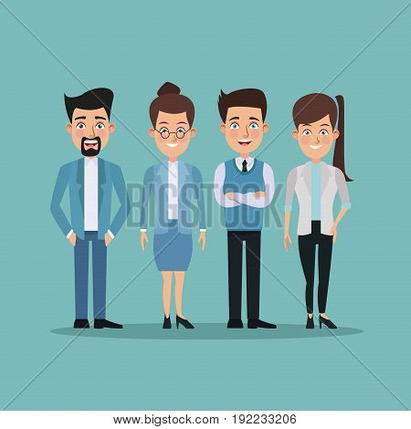 color background full body pair of women and men characters for business vector illustration