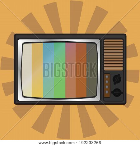 Vector illustration orange retro tv with antenna flat icon. Retro television