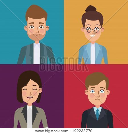 colorful sections frame set of half body executive men and women vector illustration