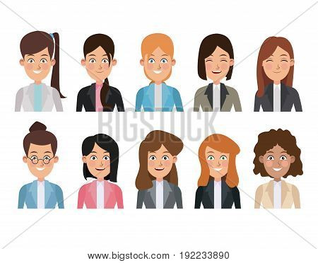 white background of colorful half body set of multiple women characters for business vector illustration
