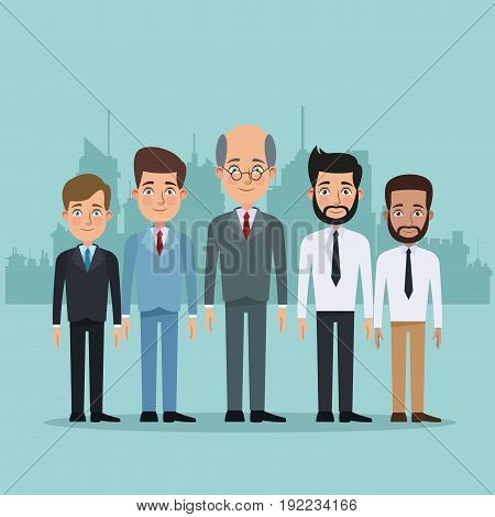 color city landscape silhouette background full body set of multiple men characters for business vector illustration