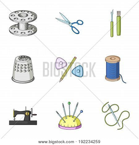 Manual sewing machine, scissors, maniken, thimble.Sewing or tailoring tools set collection icons in cartoon style vector symbol stock illustration .