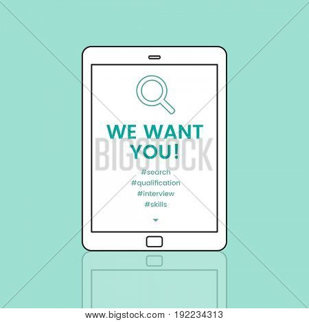 We want you! on tablet screen
