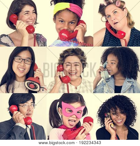 Studio People Collage Holding Handset Concept