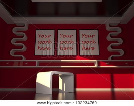 Mock up poster with modern interior design, red and white colors background, 3D rendering, 3D illustration.