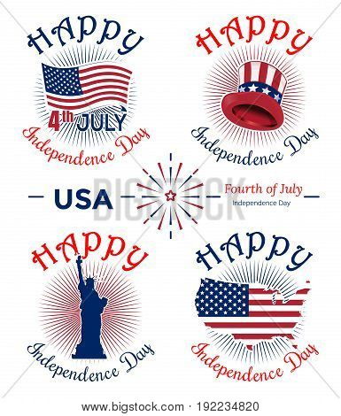 US Independence Day banner set. Fourth of July. Festive design. Celebratory icon collection and greeting inscriptions for 4th of July. Vector illustration