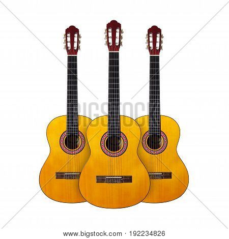 Musical instrument - Three Classic guitar on a white background. Isolated