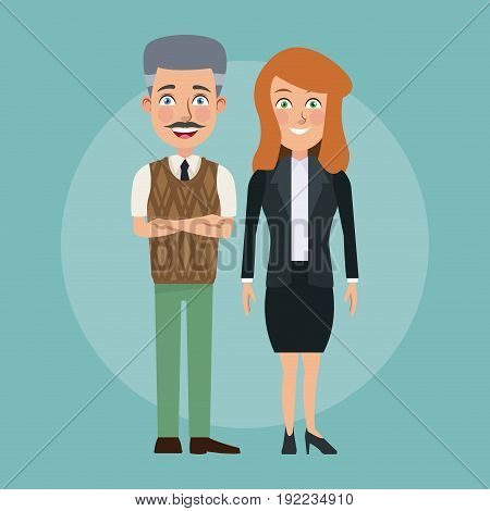 color background full body couple of young woman and elderly bald man with formal suit characters for business vector illustration