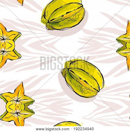 Hand drawn vector abstract unusual seamless pattern with exotic tropical fruit carambola and tropical palm leaves isolated on white background