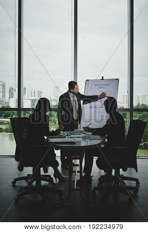 Portrait of confident Asian entrepreneur standing at marker board and sharing his ideas with colleagues while having working meeting in modern boardroom