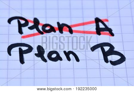 PLan A plan B on notebook page
