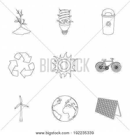 The ecology of the earth, the problems of ecology, ways to combat the ravages.Bio and Ecology icon in set collection on outline style vector symbol stock web illustration.
