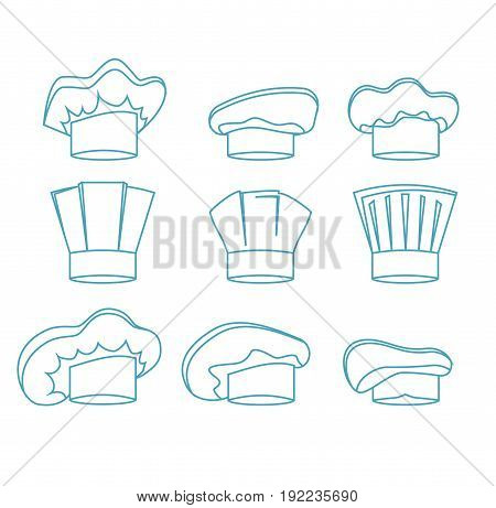 Chef White Hats Set Thin Line Design Style Uniform for Kitchen Restaurant. Vector illustration