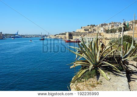 VALLETTA, MALTA - MARCH 30, 2017 - Oil products tanker in the east side of the Grand Harbour Valletta Malta Europe, March 30, 2017.