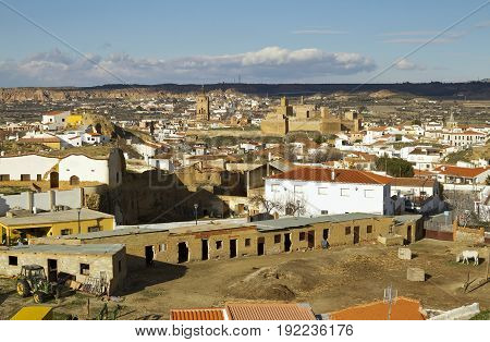 Small Andalucian town Guadix and Sierra de Baza