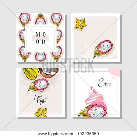 Hand drawn vector abstract freehand textured unusual tropical save the date cards set collection with palm leaves, dragon fruit, coconut and carambola in bright colors isolated on white background.