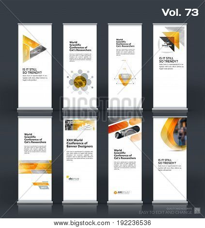 Abstract business vector set of modern roll Up Banner stand design template with yellow geometric shapes for eco, market, exhibition, show, expo, presentation, fair, events.