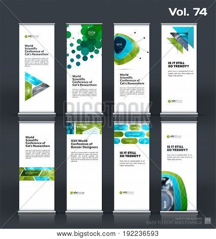 Abstract business vector set of modern roll Up Banner stand design template with green geometric shapes for eco, market, exhibition, show, expo, presentation, fair, events.