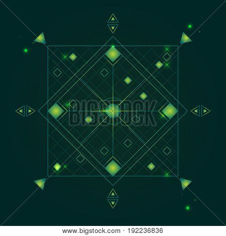 Alchemy Geometry Symbol Thin Line Mystic or Hipster Sign Element on a Green Background. Vector illustration