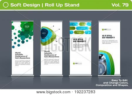 Abstract business vector set of modern roll Up Banner stand design template with green soft shapes for summer festival, market, show, expo, presentation, parade, events.