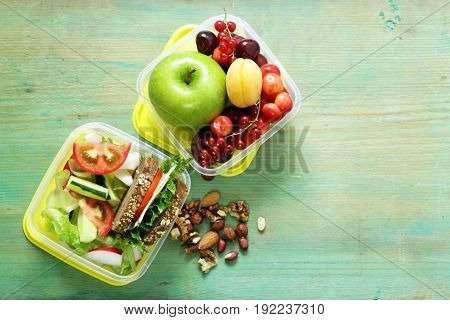 Lunch box for healthy eating diet with measuring tape