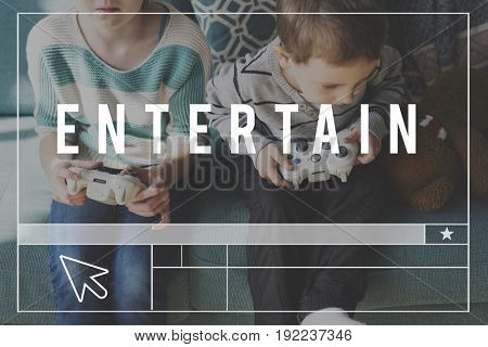 Entertainment Time Word with Kid Background