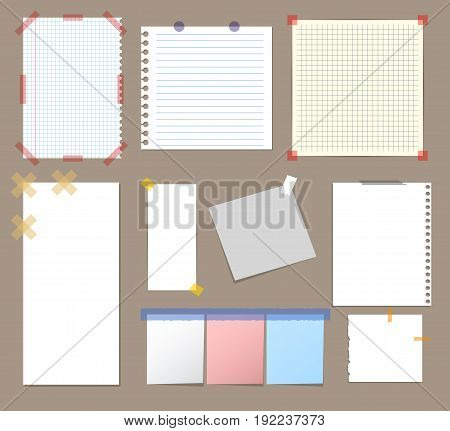 Realistic Blank Note Paper with Sticky Colorful Adhesive Tape Set on Grey Background. Vector illustration