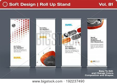 Abstract business vector set of modern roll Up Banner stand design template with red soft shapes for summer festival, market, show, expo, presentation, parade, events.
