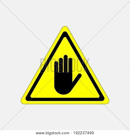 STOP no entry hand sign attention hand on a yellow background in the triangle fully editable image