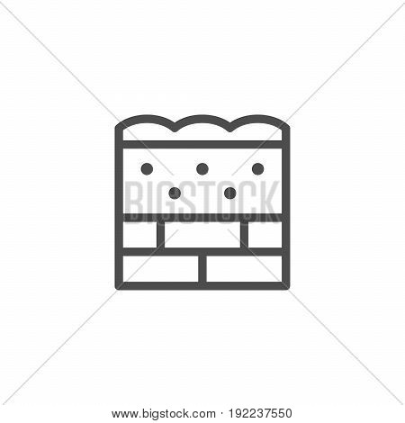Wall insulation line icon isolated on white. Vector illustration