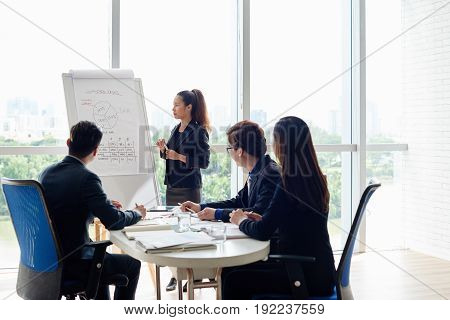 Having productive working meeting in spacious boardroom: pretty Asian businesswoman standing at marker board and presenting ideas, her colleagues listening to her with concentration