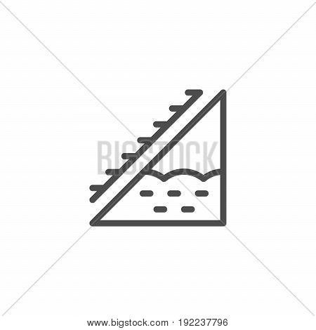 Attic insulation line icon isolated on white. Vector illustration