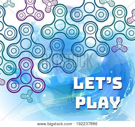 Fidget spinner watercolor blue background with outline icons of modern rotating toys vector illustration