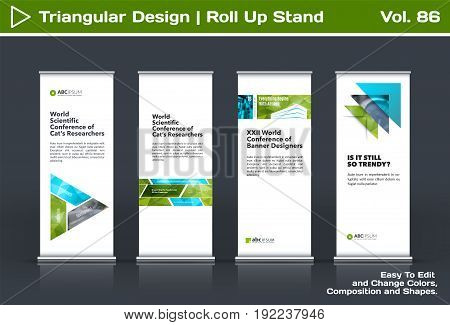 Abstract business vector set of modern roll Up Banner stand design template with green triangles, arrows for tech, market, exhibition, show, expo, presentation, parade, events.